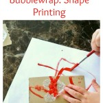 Bubblewrap shape printing activity for toddlers and preschoolers