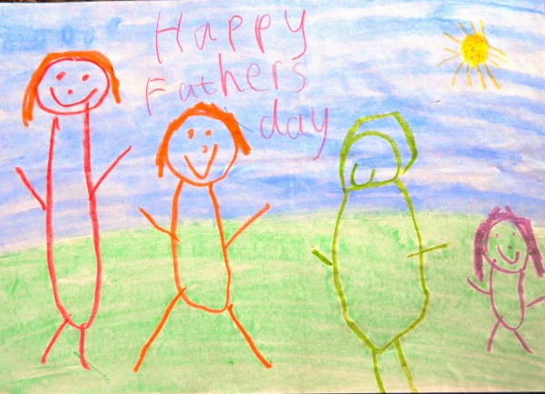 wax resist fathers day card