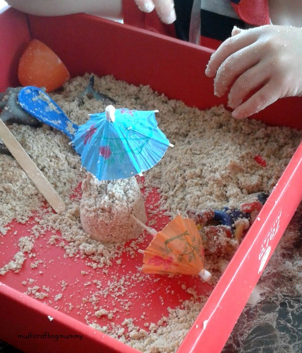 making sandcastles with moon sand