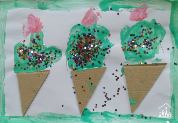 puffy paint ice cream collage