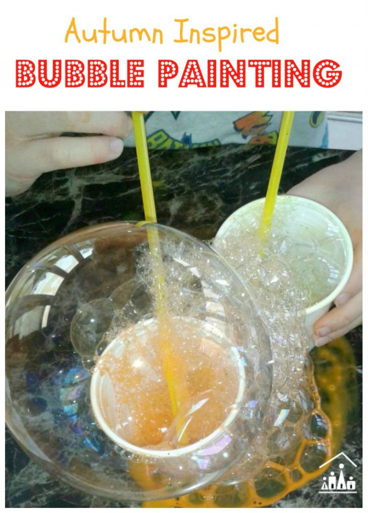 Autumn Bubble Painting for Kids