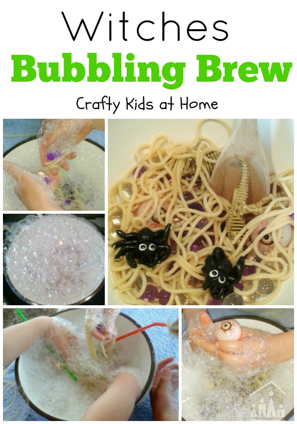 Witches Brew with Bubbles Sensory Play for Kids