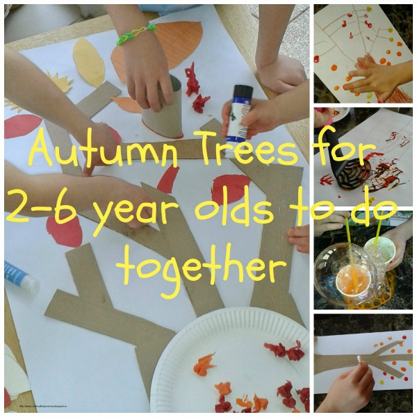 Giant collaborative autumn tree collage for kids for Arts and crafts for 2 year olds