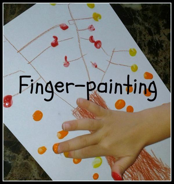 autumn tree finger painting