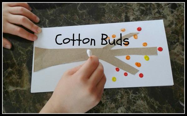 autumn tree cotton bud painting