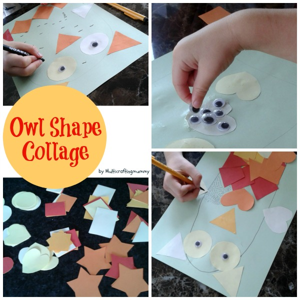 autumn owl shape collage