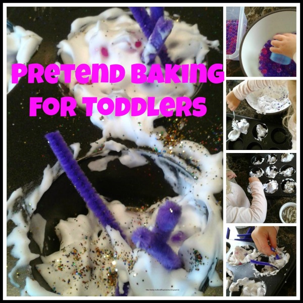 toddler baking activity using shaving foam and waterbeads