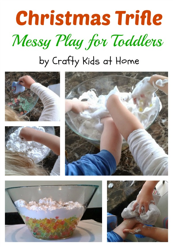 christmas trifle messy play for toddlers