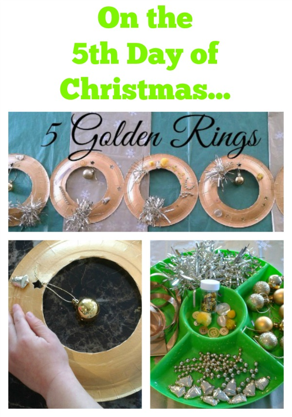 12 Days of Christmas 5 golden rings craft for kids