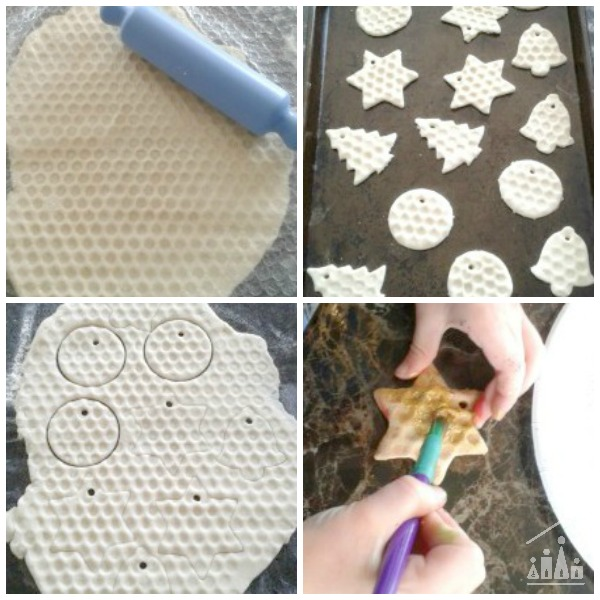Making Christmas Bubble Wrap Salt Dough Decorations