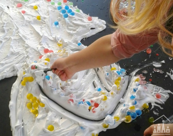Christmas tree shaving foam activity