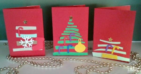 christmas tree cards made by kids crafty kids at home