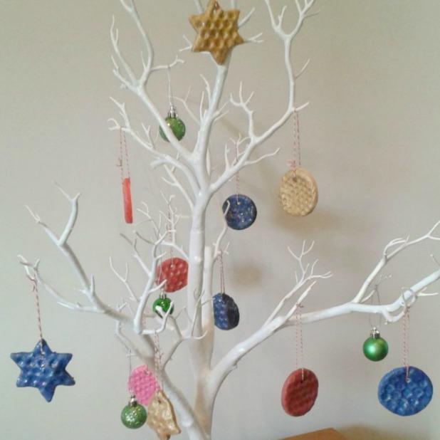 bubble wrap salt dough christmas tree decorations