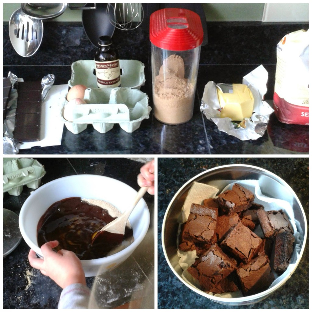 making chocolate brownies