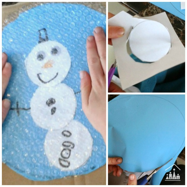 bubble wrap snow globe snowman collage