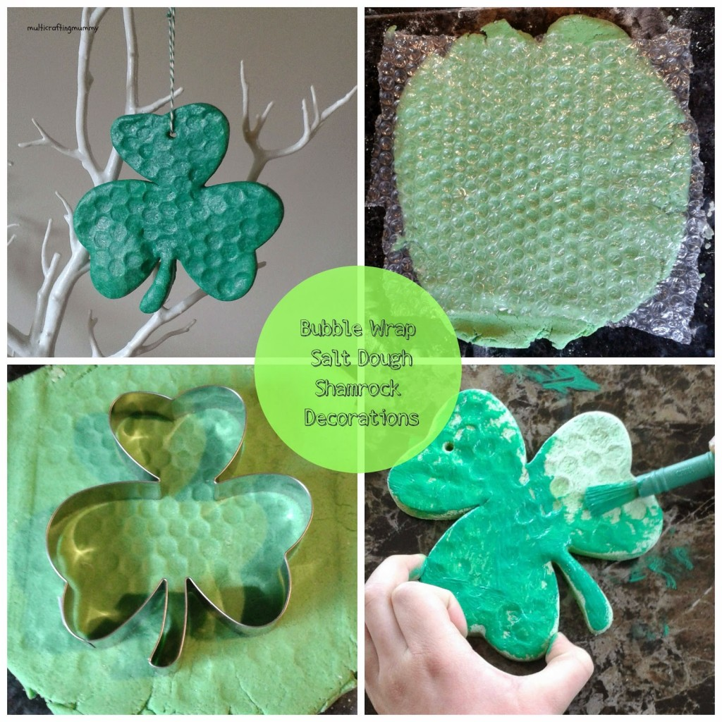 bubble wrap salt dough shamrock decorations