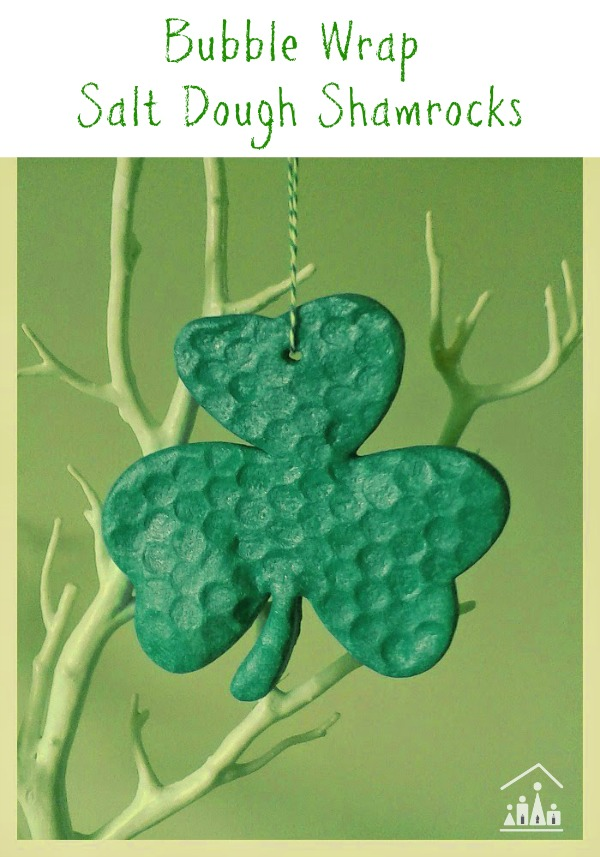 Bubble wrap activities for kids salt dough shamrocks