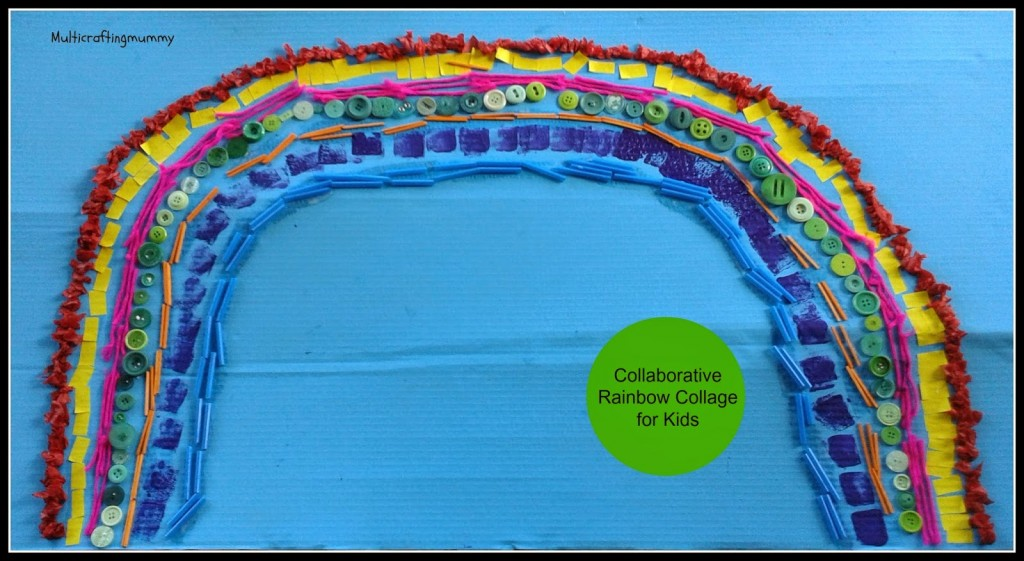 collaborative rainbow collage for kids
