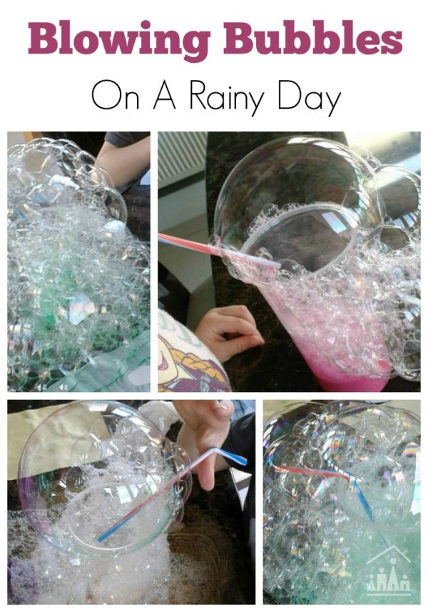 Blowing Bubbles Rainy Day Activity for Kids