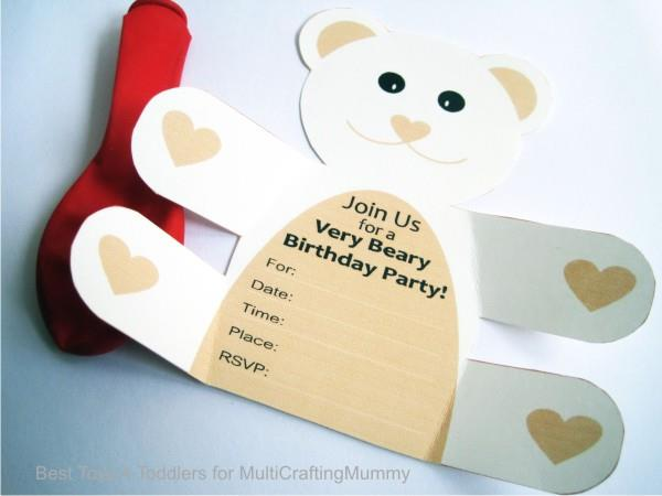 Free Printable Teddy Bear Birthday Party Invitation