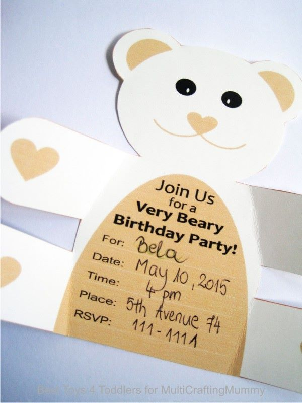Free Printable Teddy Bear Birthday Party Invitation.