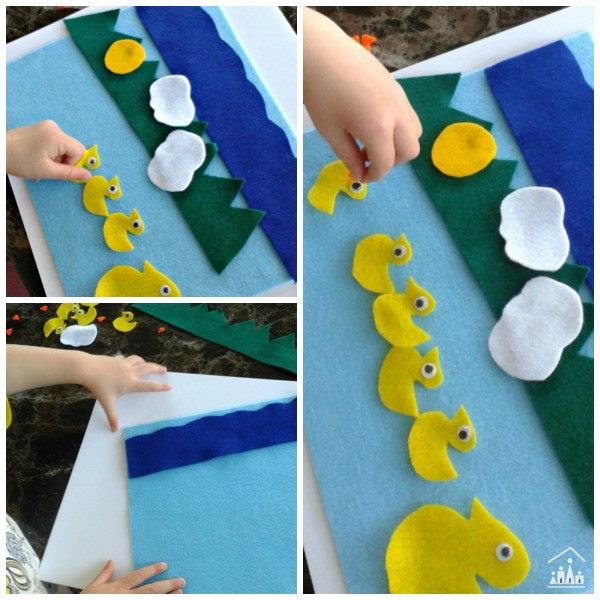 5 little ducks felt play mat