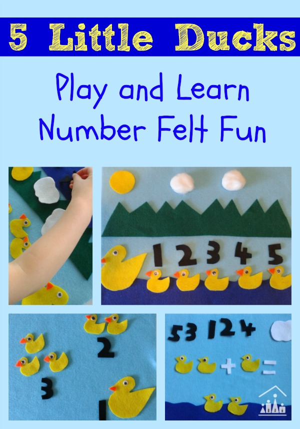 5 little ducks play and learn number felt fun