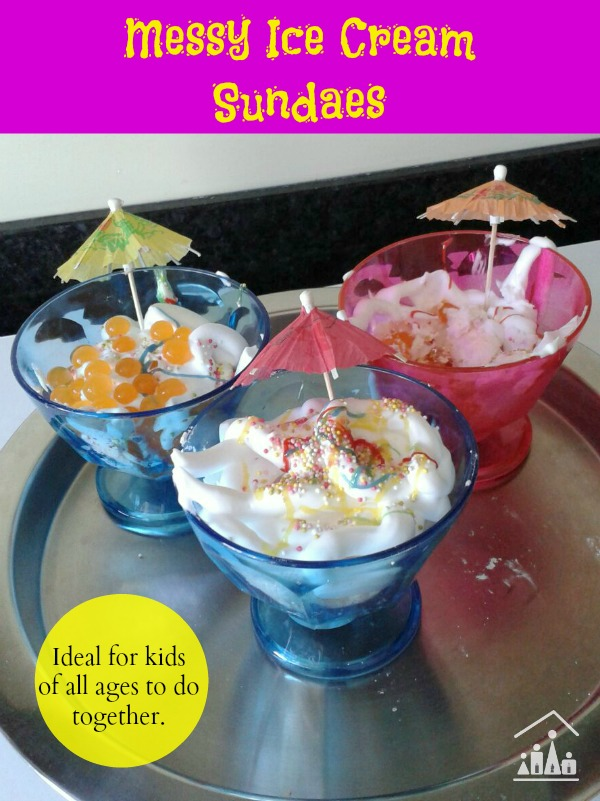 messy ice cream sundaes for kids pretend play