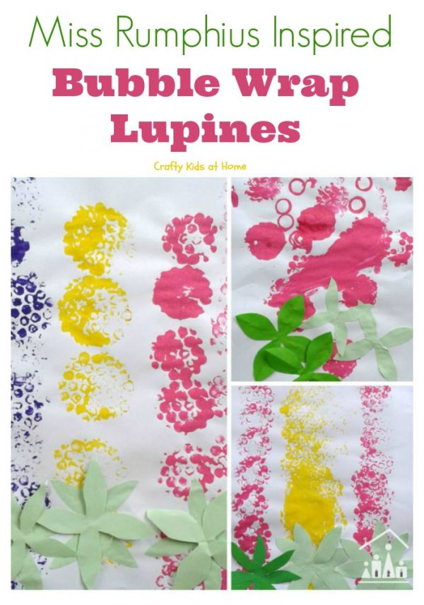 Miss Rumphius Inspired Bubble Wrap Lupines