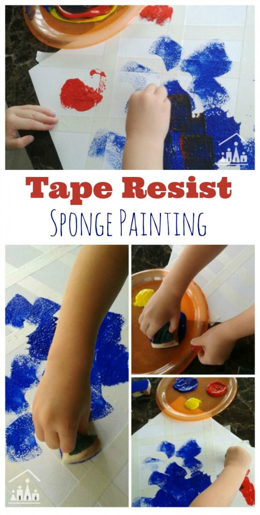 Tape Resist Sponge Painting for Preschoolers