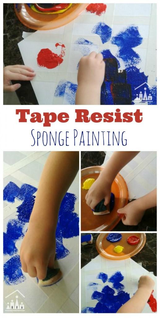 Tape Resist Sponge Painting for Preschoolers