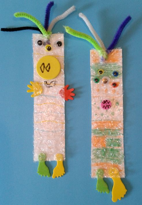 back to school bubble wrap bookmarks