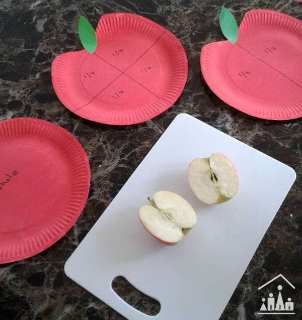 basic fractions using apples halves
