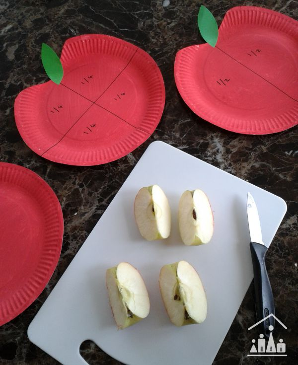 basic fractions using apples quarters