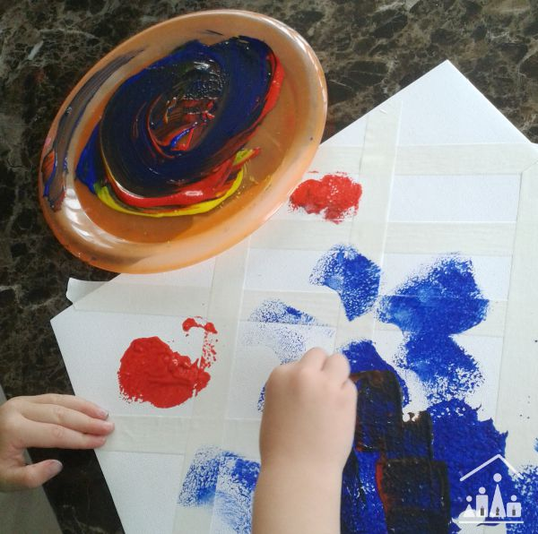 tape resist sponge painting colour mixing