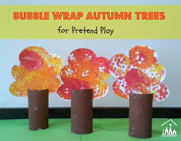 Bubble wrap autumn trees for pretend play