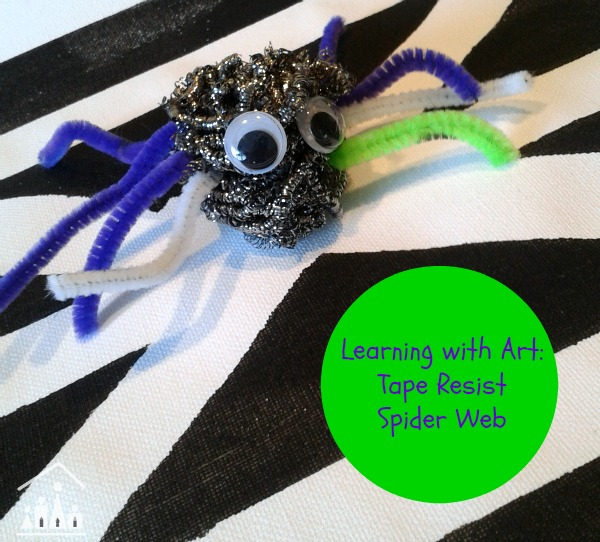 Learning with art tape resist spider web