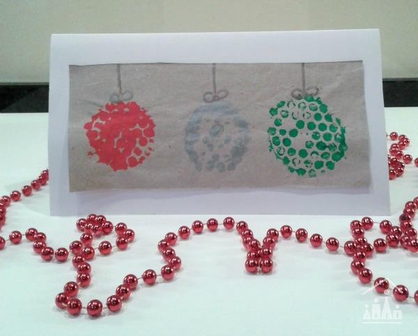 bubble wrap baubles christmas card for kids