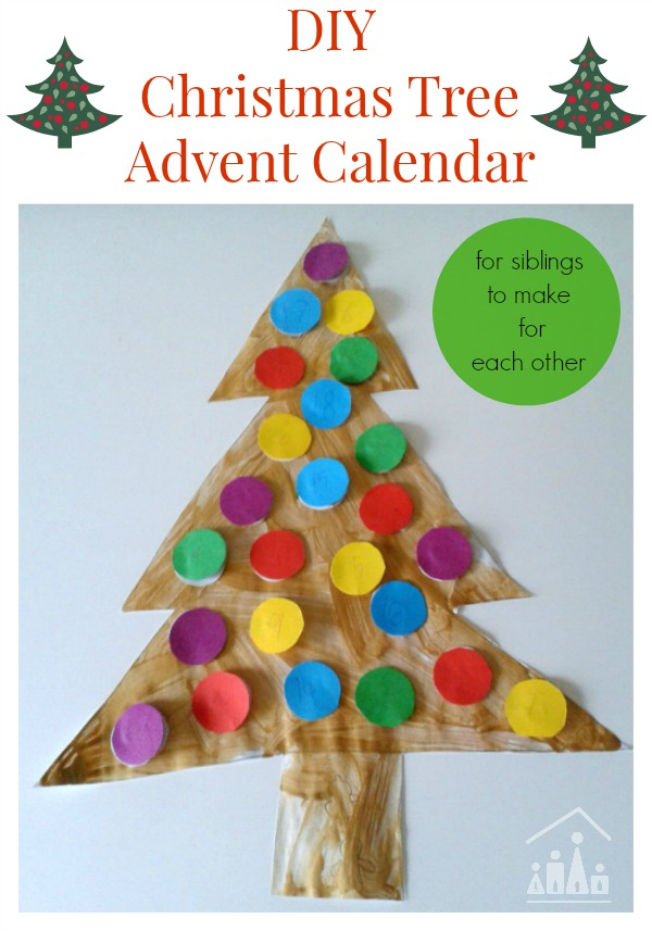 Diy christmas tree advent calendars crafty kids at home for Diy christmas advent calendar ideas