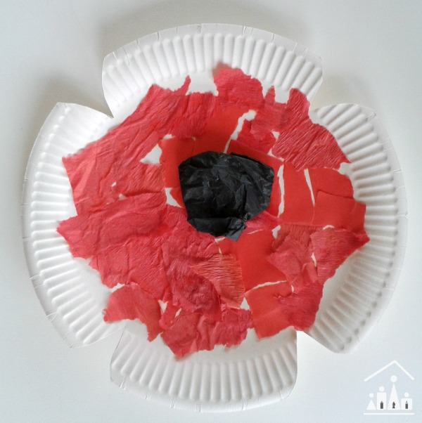 paper plate poppy crafts torn paper collage