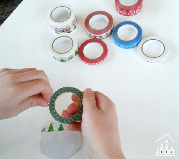 DIY Christmas Cards for Kids: Washi Tape Baubles - Crafty Kids at Home