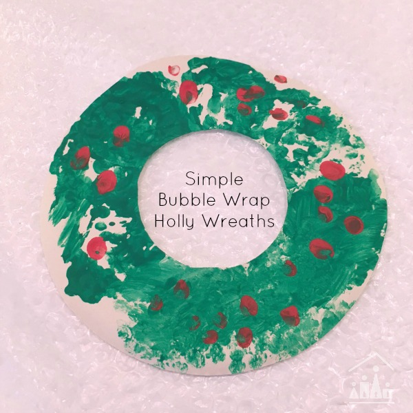 bubble wrap holly wreaths for kids