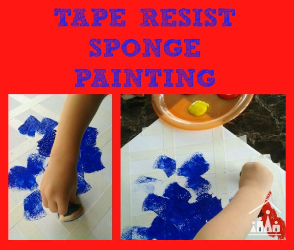 tape resist art using sponges
