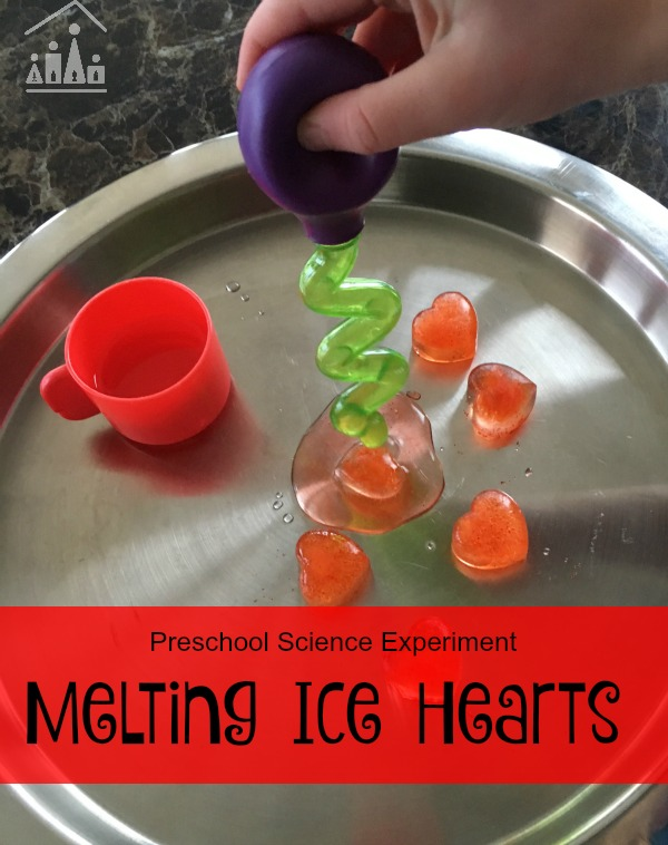 melting ice hearts preschool science experiment