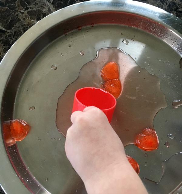 melting ice hearts preschool science experiment