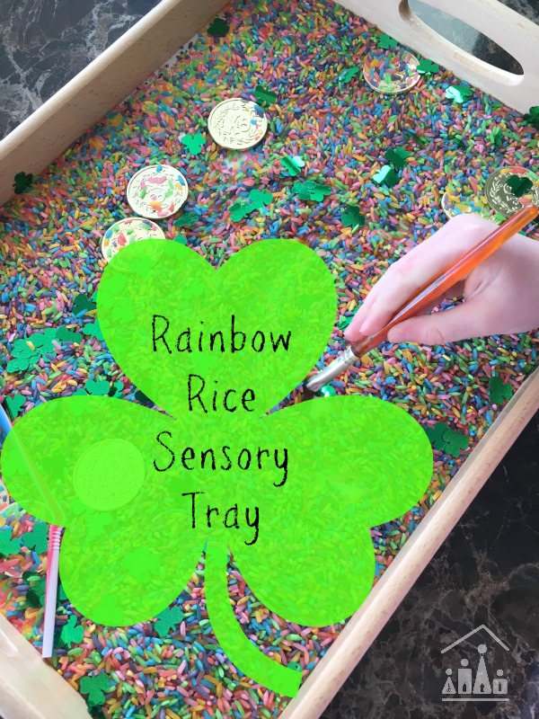 rainbow rice sensory tray