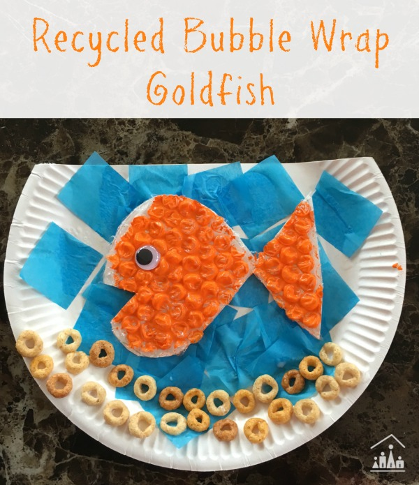 Recycled bubble wrap goldfish craft for kids