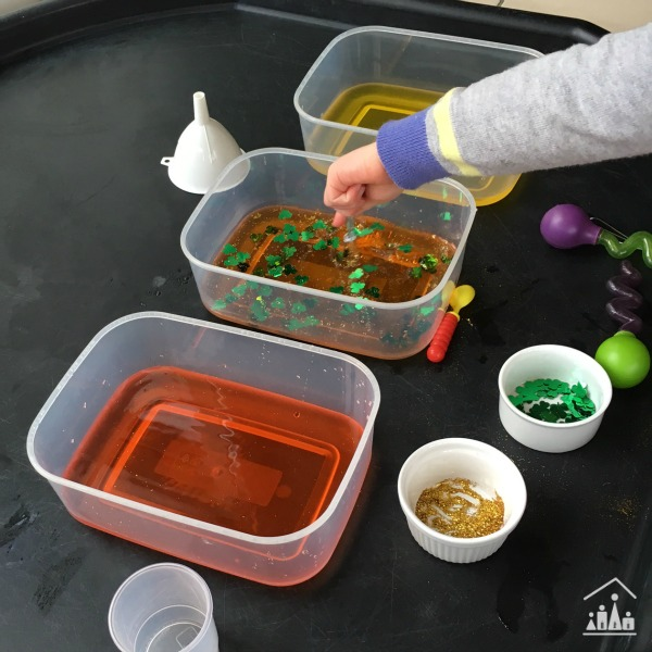st patricks day sensory play potion mixing activity for preschoolers.