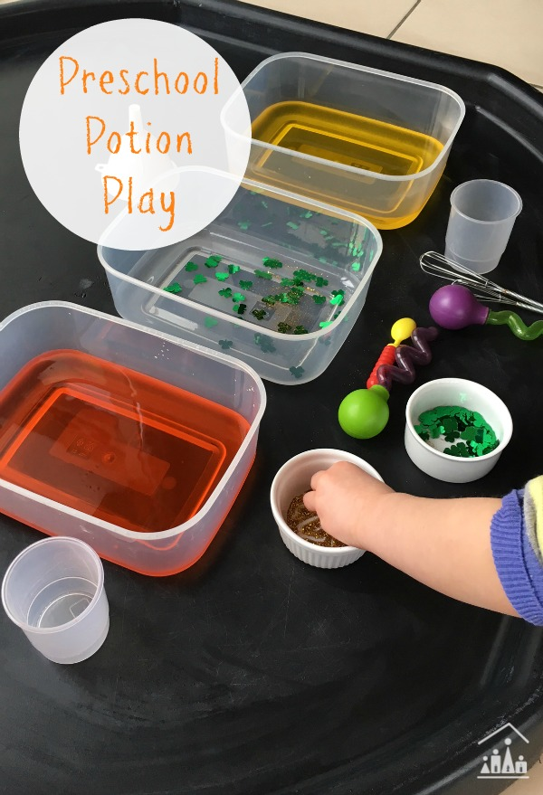 st patricks day sensory play potion mixing activity for preschoolers