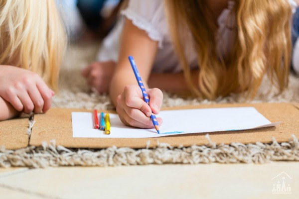 Children Colouring on a Playdate